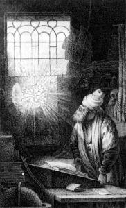 """Rembrandts Gelehrter, nachgestochen von Johann  Heinrich Lips für den Druck von 1970 """"Faust. Ein Fragment"""""""