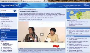 """""""China provoziert Gastgeber"""" Screenshot der Tagesschau-Webseite vom 12. 09. 09"""